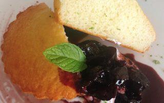 Chef Thierry Delourneaux Chichifoofoo Greek Yogurt Cake with Wine Plum Sauce