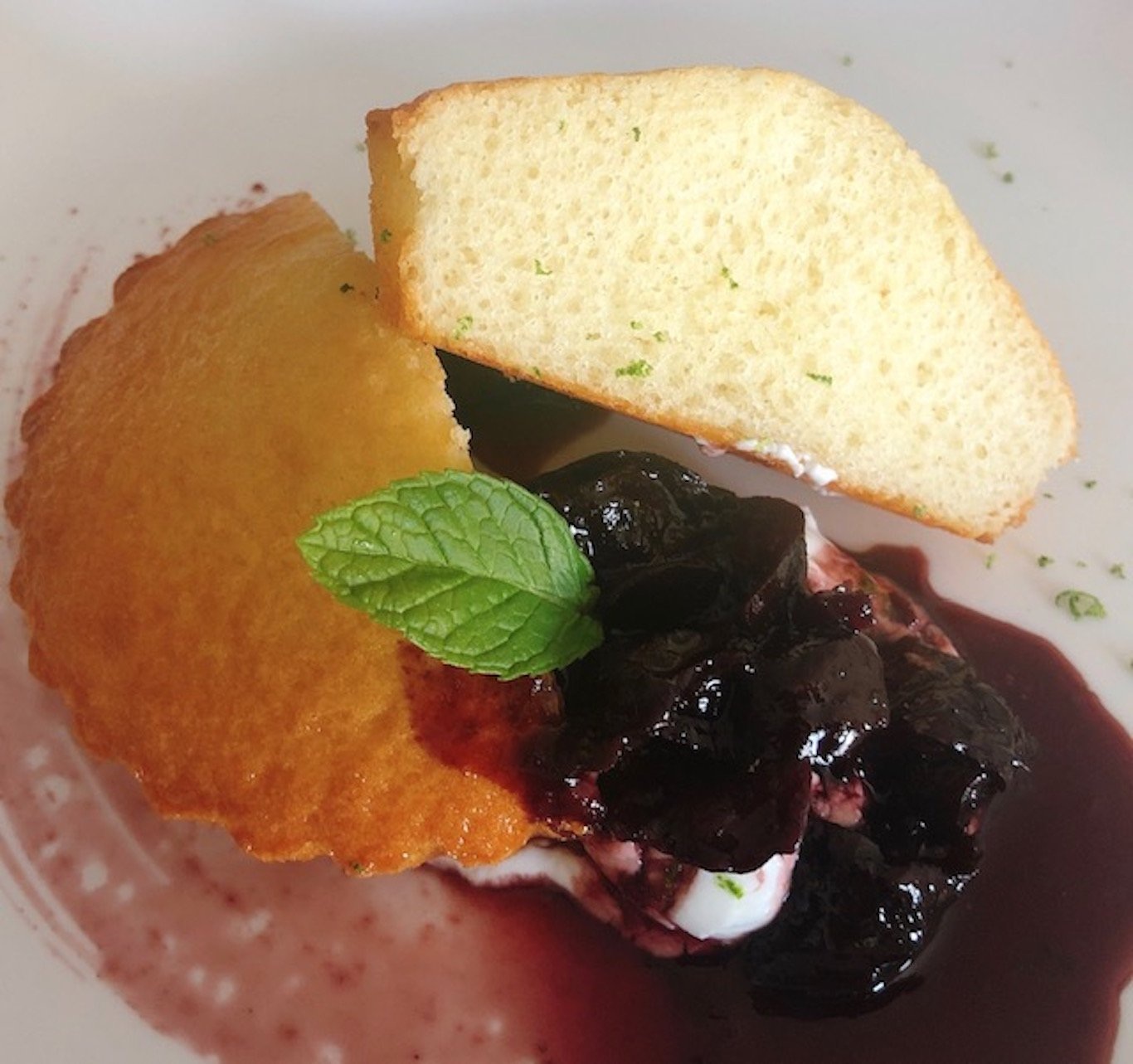 Chef Thierry Delourneaux Chichifoofoo Greek Yogurt Cake with Wine Plum Sauce