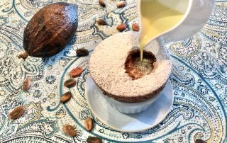 Chef Thierry Delourneaux Chichifoofoo Chocolate Souffle with Cinnamon Creme Anglaise