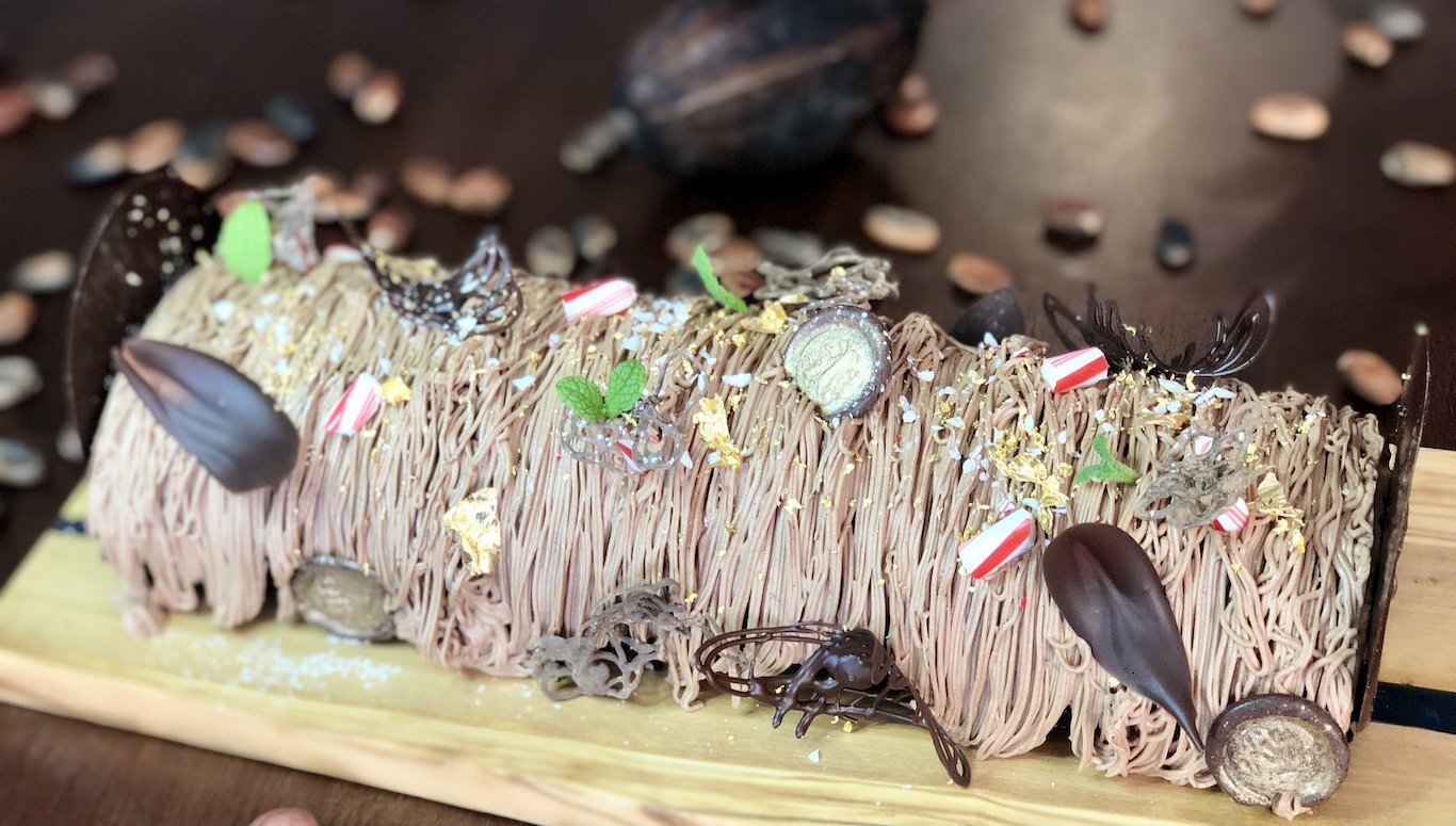 Chef Thierry Delourneaux Chichifoofoo Chocolate Flourless Peppermint Log